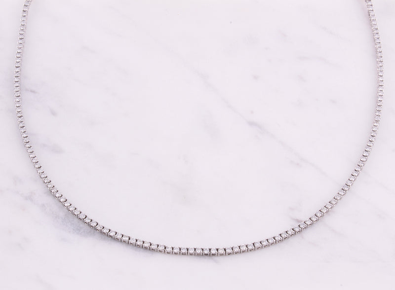 Tennis Necklace - 4,00 ct - Weißgold