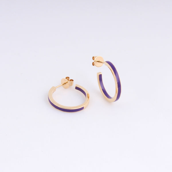 Emaile Half Hoops - Lila - Gelbgold