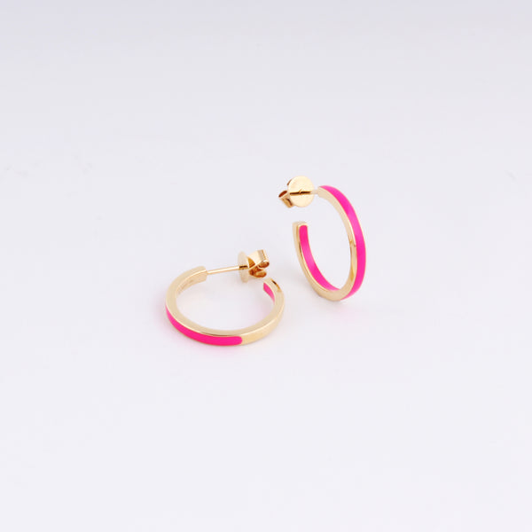 Emaile Half Hoops - Pink - Gelbgold