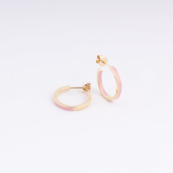Emaile Half Hoops - Rosa - Gelbgold