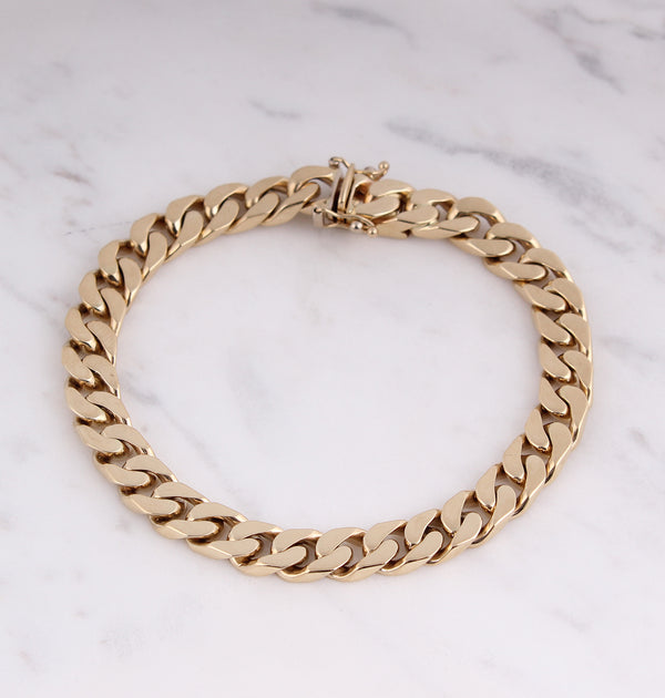 Solid Curb Chain Armband - 7mm - Gelbgold