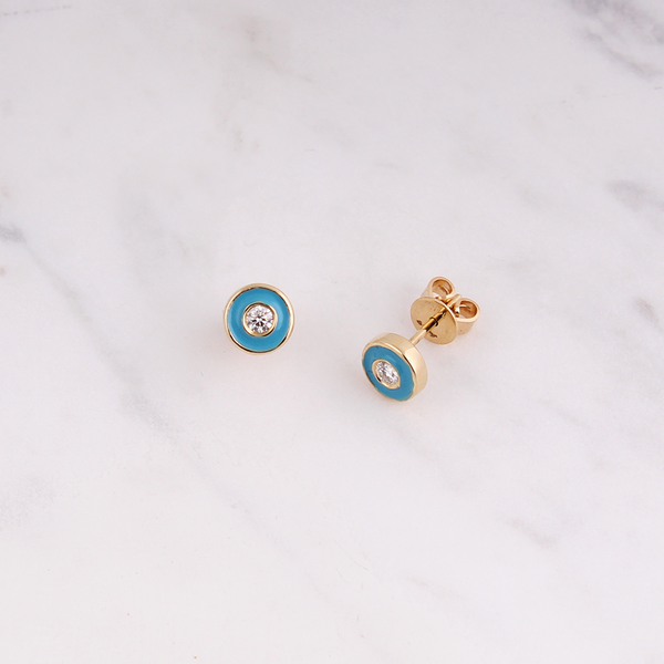 Emaile Diamant Plättchen Ohrstecker - 7mm - Turquoise - Gelbgold