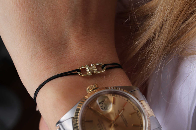 Lucky Wristband Stoff Armband - Gelbgold