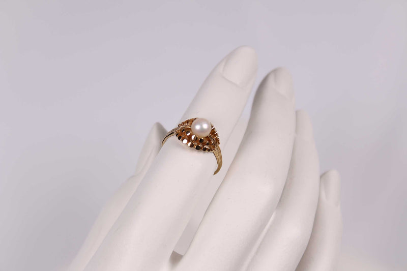 Vintage Ring Perle - Gelbgold