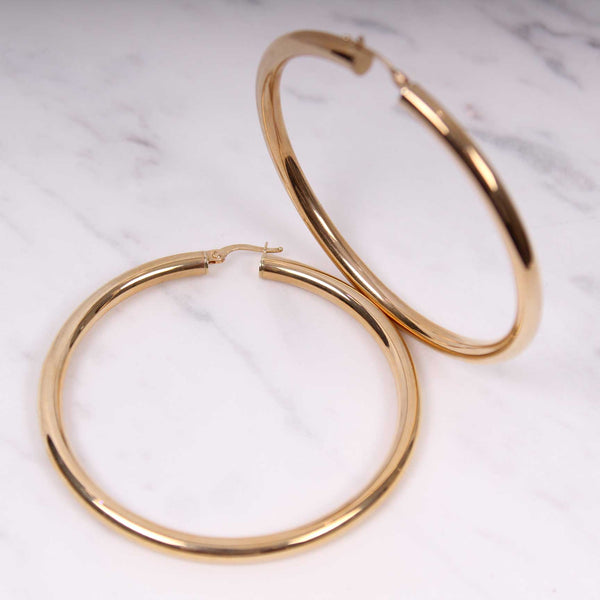 4mm Plain Gold Hoops - 6 cm - Gelbgold