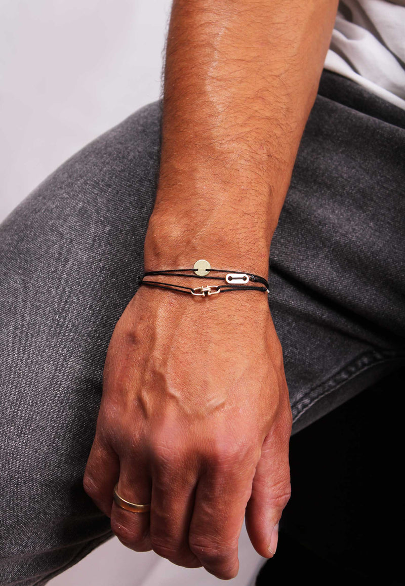 Long Plate Stoff Armband - for Him - Gelbgold