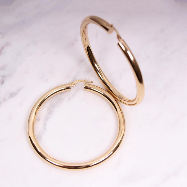 4mm Plain Gold Hoops - 4 cm - Gelbgold