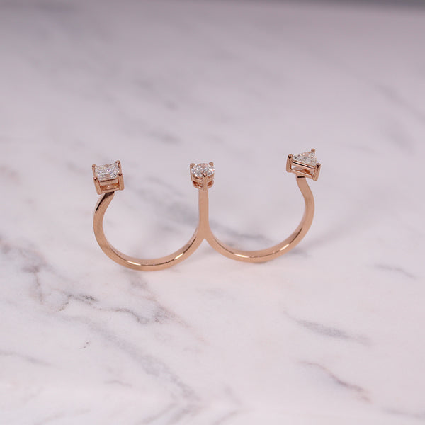Double Finger Ring with Diamonds - Roségold