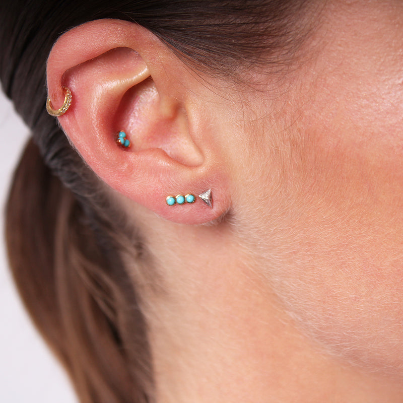 Triple Turquoise Ohrstecker - Gelbgold