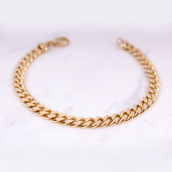 Curb Chain Armband - 6mm - Gelbgold