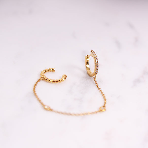 Diamond Hoop Chain Ohrring - Gelbgold