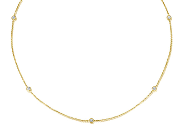Short Diamond Necklace - Gelbgold