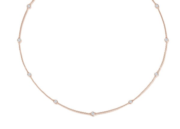 Long Diamond Necklace - Roségold