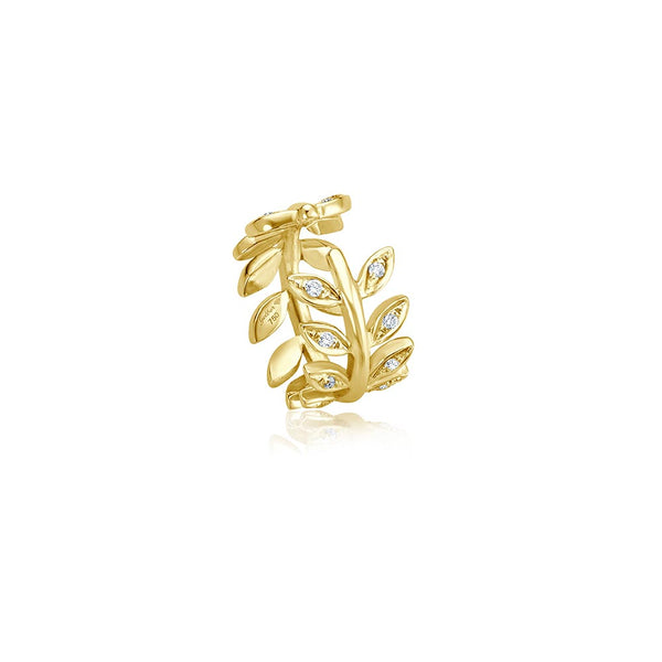 Diamond Leaf Cuff - Gelbgold