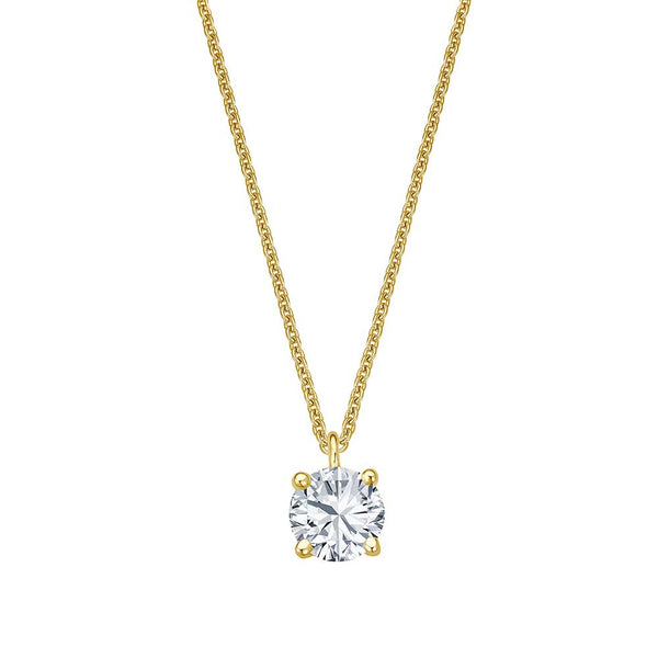 Solitaire Necklace - Gelbgold 4er Krappen Fassung - 0.30 ct Brillant