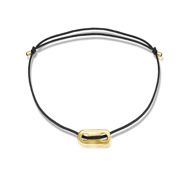 Long Plate Stoff Armband - Gelbgold