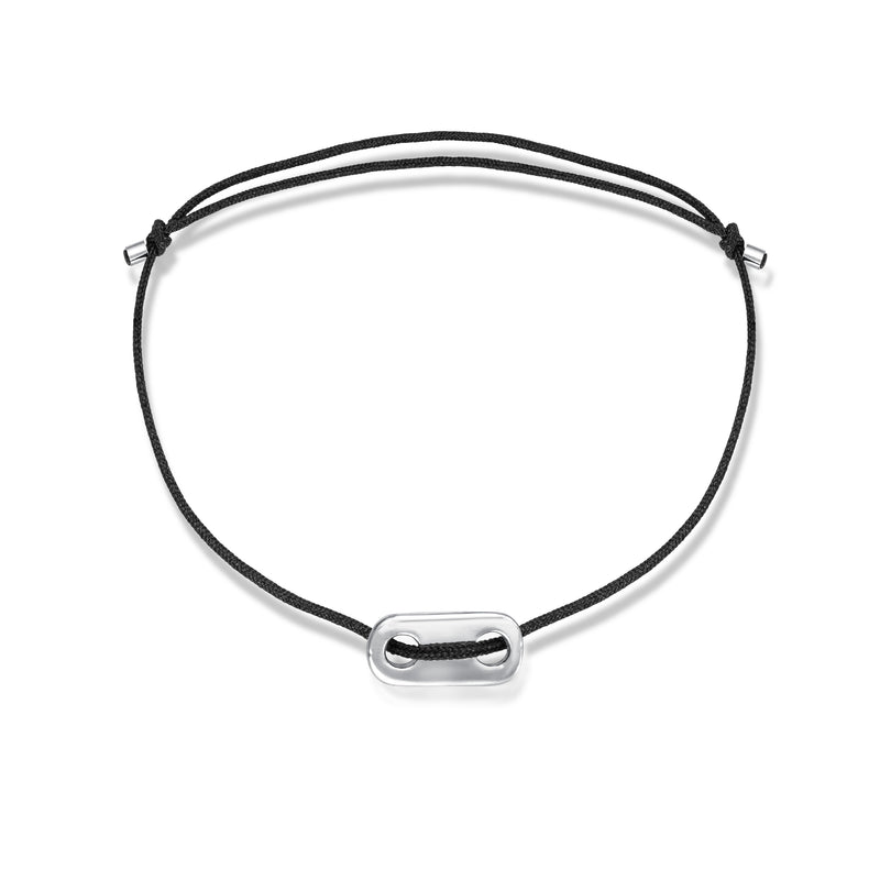 Long Plate Stoff Armband - for Him - Weißgold