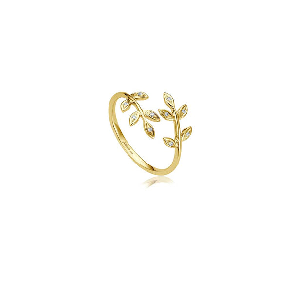 Diamond Leaf Ring - Gelbgold