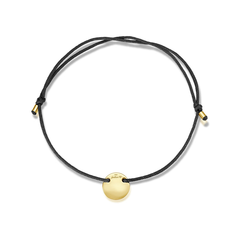 Mini-Plate Stoff Armband - Gelbgold