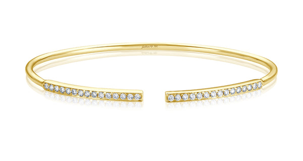Double Diamond Bar Armreif - Gelbgold