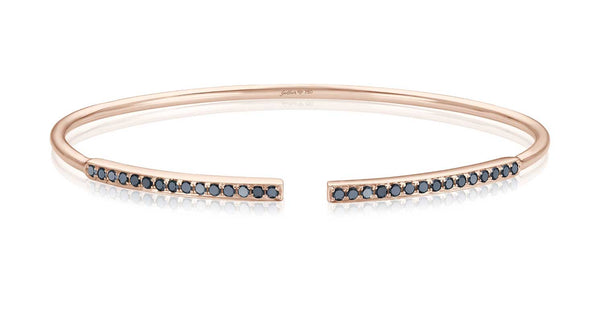 Double Black Diamond Bar Armreif - Roségold