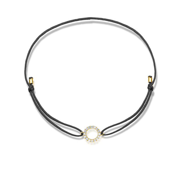 Diamond Circle Stoff Armband - Gelbgold