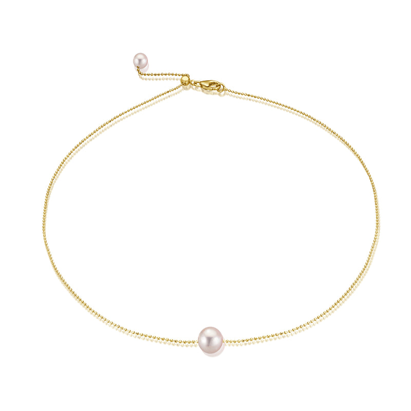 Single Pearl Gold Choker - Gelbgold