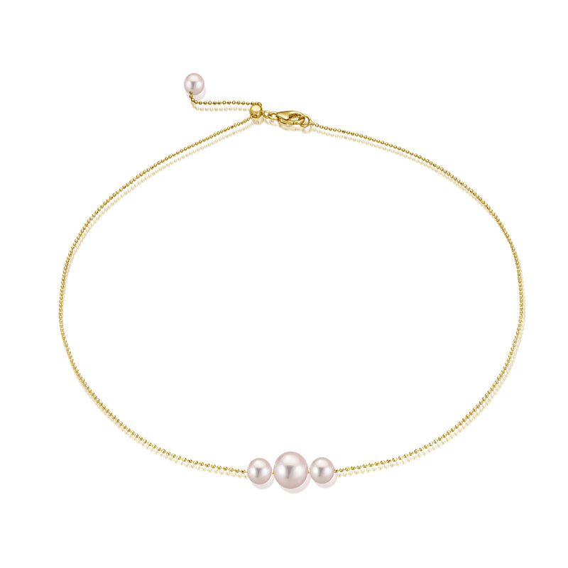 Triple Pearl Gold Choker - Gelbgold