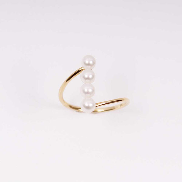Pearl Bar Ring - Gelbgold