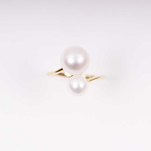 Double Pearl Ring - Groß - Gelbgold