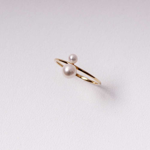 Double Pearl Ring - Klein - Gelbgold