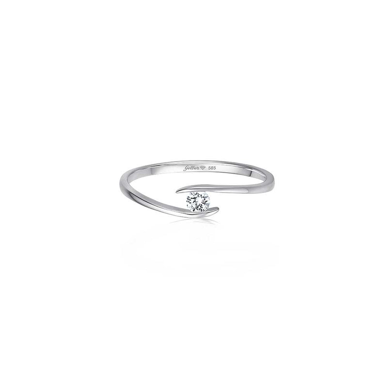 Zen Diamond Ring - 0,10 ct - Weißgold