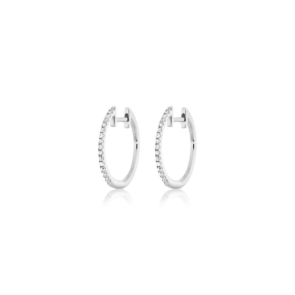 Diamond Hoops - 1,5 cm - Weißgold