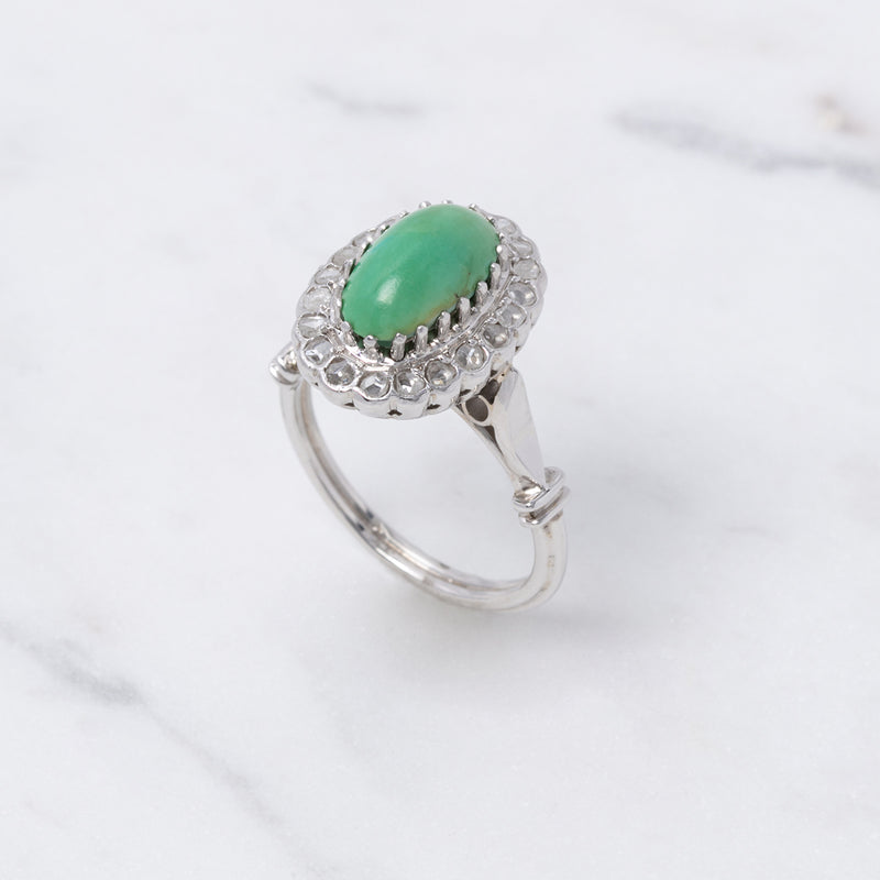 Vintage Turquoise Cabochon Ring - Weißgold