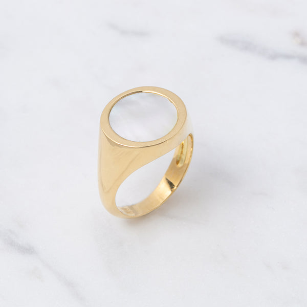 Perlmutt Ring - Gelbgold