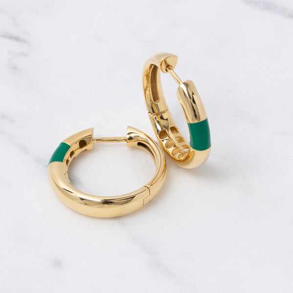 Bold Hoops Emaile - Gelbgold