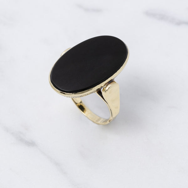 Vintage Ring Onyx - Gelbgold