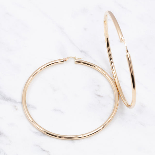 3mm Plain Gold Hoops - 6 cm - Gelbgold