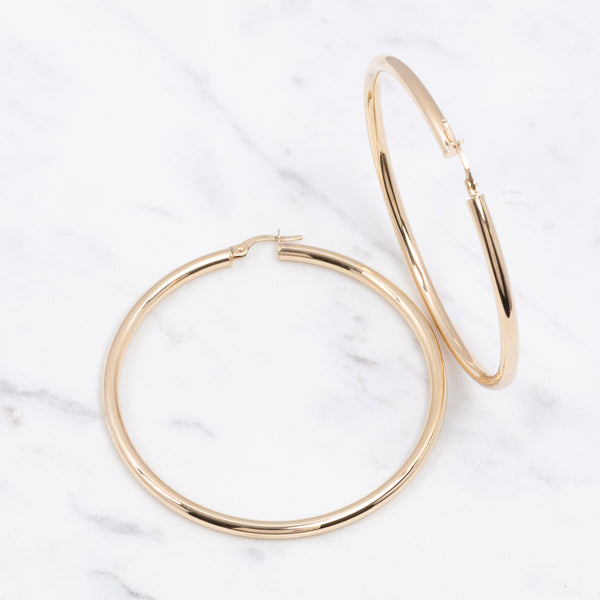 3mm Plain Gold Hoops - 5 cm - Gelbgold
