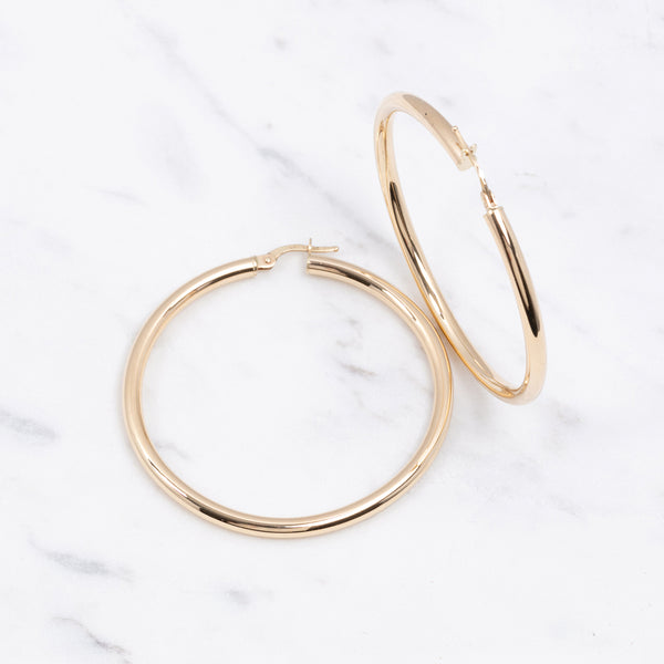 3mm Plain Gold Hoops - 4 cm - Gelbgold