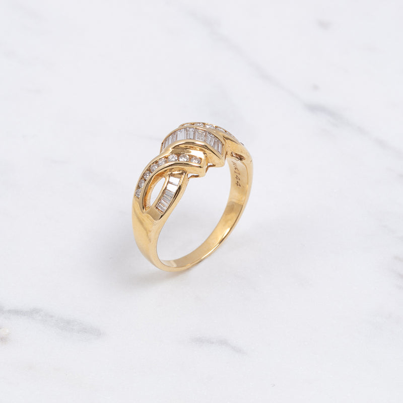 Vintage Ring Diamant Twisted - Gelbgold