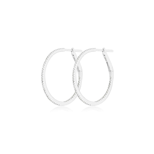 Medium Diamond Hoops Whitegold