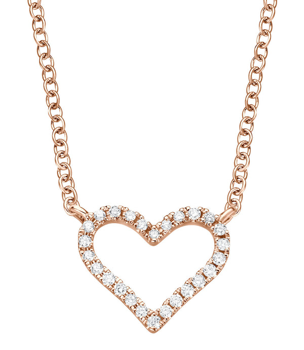 Heart Necklace - Rosegold mit Brillanten