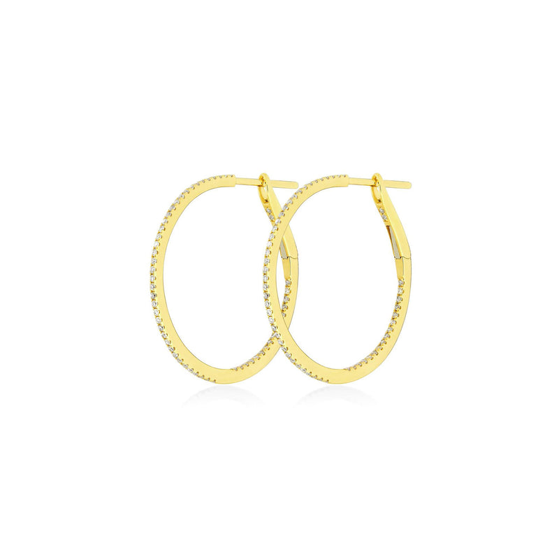 Medium Diamond Hoops Yellowgold