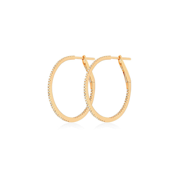 Medium Diamond Hoops Rosegold