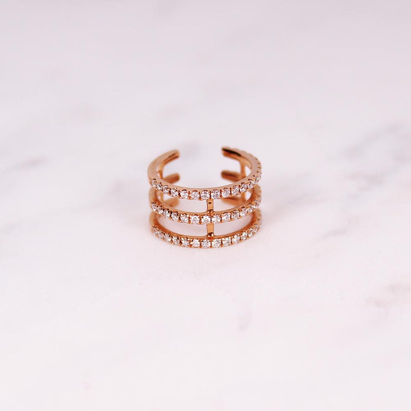 Diamond Triple Cuff - Roségold