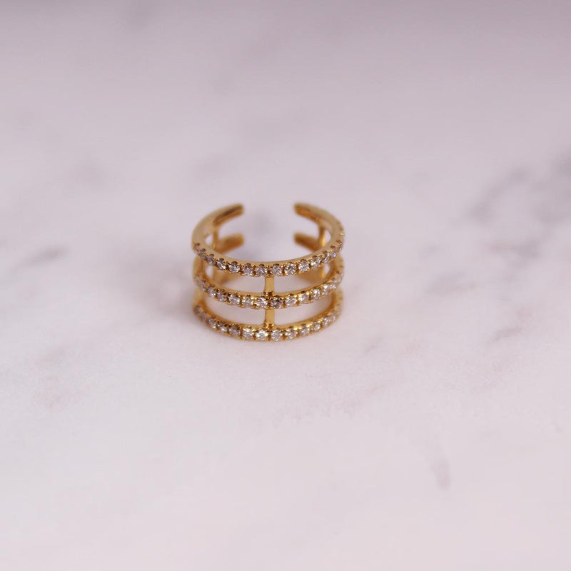 Diamond Triple Cuff - Gelbgold