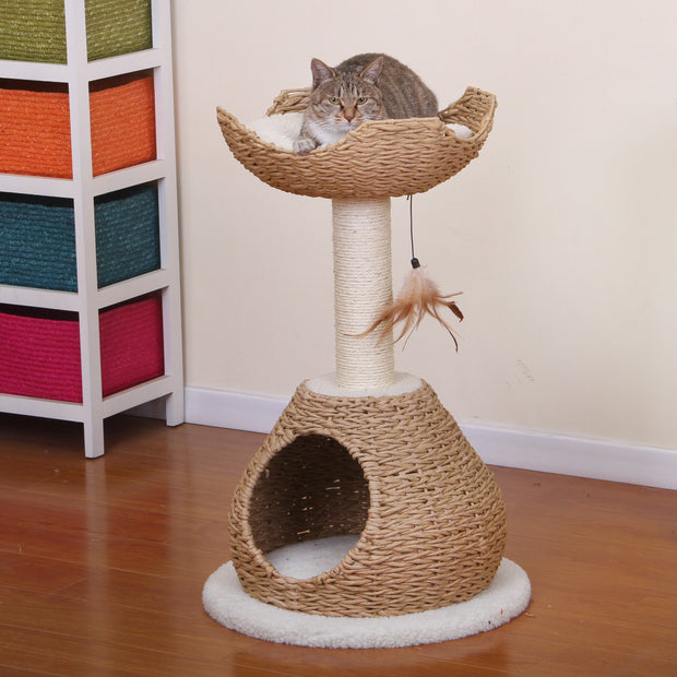 Natural Rope Cat Tree with Perch