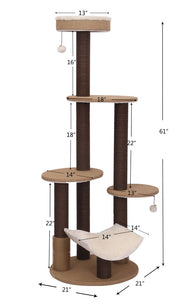 Meo Multi-Level Cat Tower with Rubber Massager Dimensions