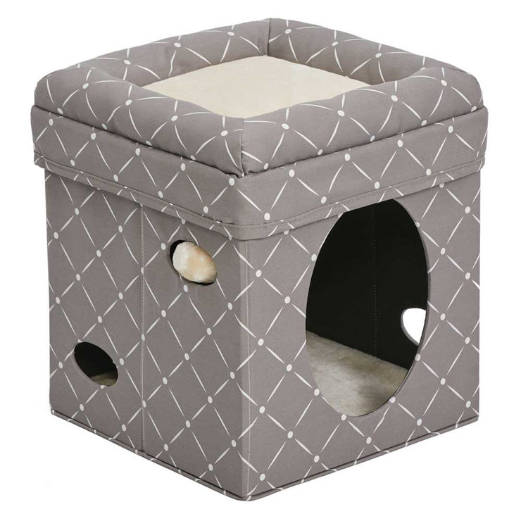 Chic Patterned Cube Cat Bed